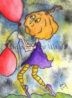NEW   Hester's Last Balloons ACEO Original by GerushiasWorld