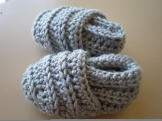 Cute lil' boy slippers to crochet from Ravelry.com
