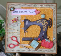 Simone Lupscha: Papiart for CottageBLOG: Sew what's new? - 5/16/14.  (Dies: Vintage Sewing Machine; Sewing Notions; Clothes Hanger Mini).  (Pin#1: Cottage Cutz.  Pin+: Sewing).