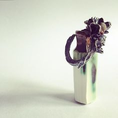regram @lauren_bellbrown Hothouse residential task 1 product 5 ways #oneproduct5ways.  Day 2- my Decadent Demise ring complemented perfectly by fellow Design Factory member @jrileyceramics beautiful 'not to be taken' miniature bottle (totally adore my bee bottle too!) Love the muted colour tones and metallics @design__factory @nottinghamjewelleryschool @artsthread @craftfestival #contemporaryjewellery #decadentdemise #nottinghamjewelleryschool #designfactory #hothouse2017 #hothouse #ring…