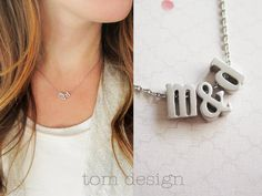 SALE  LOVE Tiny Silver Lowercase Initial & Ampersand by TomDesign, $18.00