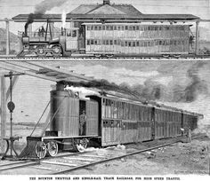 THE BOYNTON UNICYCLE RAILROAD Scientific American, March 28, 1891 Apparently this actually operated. Fifty trains of three cars each made the run to Coney Island each day.
