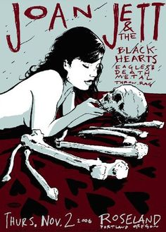 Joan Jett and the Black Hearts, silkscreen poster by Casey Burns Joan Jett music gig poster, at The Roseland Theater, Portland Oregon Tour Posters, Band Posters, Music Posters, Joan Jett, Punk Poster, Gig Poster, Norman Rockwell, Hard Rock, Concert Flyer