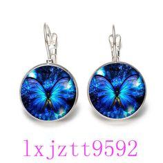 20acce4f4 $0.99 - Blue Butterfly Glass Cabochon(18Mm)Lever Back Earrings Silver Women  Jewelry #