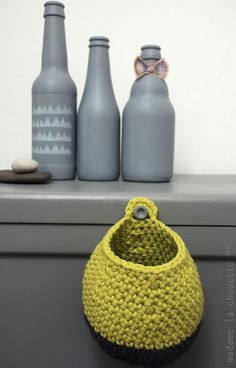 Crochet Basket Inspiration ❥ 4U // hf (this would be great to hang on the knob of my dresser or bathroom drawer knob to hold the things I don't want to sleep with!