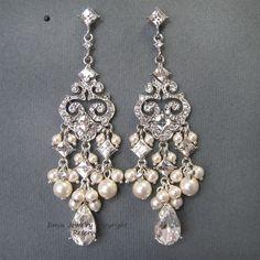 Chandelier Bridal Earrings E0022 Ivory Pearl Bridal by eminjewelry, $62.00