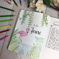 Flamingo Bullet Journal Layout & Verbreitung Source by Wreck This Journal, My Journal, Journal Covers, Journal Pages, Summer Journal, Journal Ideas, Bullet Journal Spread, Bullet Journal Layout, Bullet Journal Inspiration