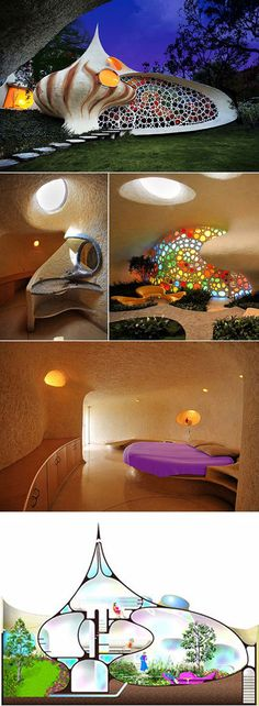 The Nautilus House, New Mexico. I want that stained glass window!!