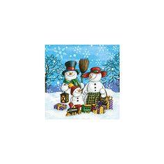 Kerst servetten met sneeuwpoppen  Servetten met sneeuwpoppen. Papieren 3-laags kerst servetten met een afbeelding van een sneeuwpop familie. Formaat: 33 x 33 cm. Inhoud: 20 stuks.  EUR 3.50  Meer informatie