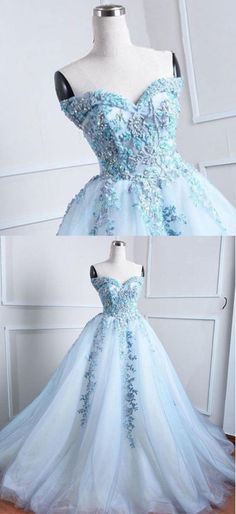 Gorgeous sweetheart neck ice blue tulle long evening dress, long embroidery lace prom dress #prom #dress #promdress #promdresses