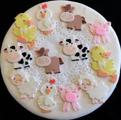 Farm Animals Cupcake Toppers, Farm Birthday Decoration, Boys Farm Baby Shower, Cute Baby Animals Farm, Farm First Birthday, Farm House Animals Cake Topper Baby Shower