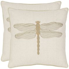 Give your old pillows an instant style update in seconds with these dragonfly decorative pillow covers. This linen-and-cotton cover features an embroidered dragonfly ready to take flight. Satin embroidery and chain stitching gives added dimension.