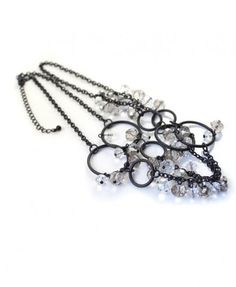 Black Circle Necklace with Multi Pearls Embellishment - Welcome to Flerika!