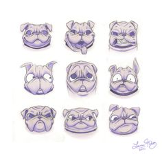pug expressions by ~S-ever-ed on deviantART
