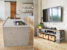 DIY cinder block TV cabinet. All of this for under $60! No nails or hammers needed. Stylish concrete kitchen on a budget. Design By Maiko Nagao