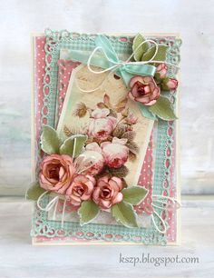 Pink and blue shabby card with roses and spellbinders mat