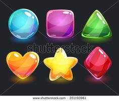 Cool shiny glossy colorful shapes, vector assets for gui design - stock vector
