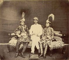 Photograph of Jang Bahadur Rana Of Nepal, flanked by his sons; part of a collection of albumen prints taken by Clarence Comyn Taylor between 1863-65, which constitute the earliest photographs of Nepal By Rohit Sonkiya