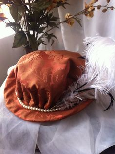 25d54bc5f44 Renaissance Riding Hat - Persimmon and Bronze silk brocade