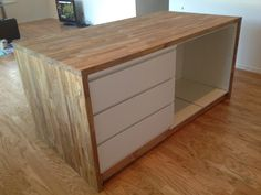 malm dresser, base cabinet, base, wood countertop and sides - use two malm d. - Ikea DIY - The best IKEA hacks all in one place Kitchen Cabinets And Backsplash, Dark Wood Kitchen Cabinets, Dark Wood Kitchens, Diy Kitchen Island, Ikea Cabinets, Wood Countertops, Base Cabinets, Home Kitchens, Kitchen Ideas