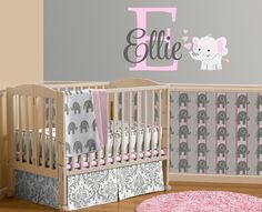 Elephant Custom Name, Personalized Initial Wall Decal, Sticker for Nursery, Girl's Room or Playroom, Nursery Monogram