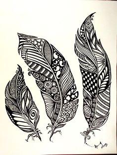 abstrakte Kunst abstrakte Zeichnung Federn Fun von abstract9912