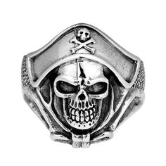 Aeravida Buccaneer Pirate Skull Sterling Ring