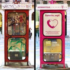 """Docnews.fr :  """" Magyar Telekom s'est associé à Kirowski Isobar (Budapest) sur le projet Hello holnap. Devant le nombre de cabines téléphoniques laissées à l'abandon, l'opérateur téléphonique a décidé de réagir et de les restaurer pour la bonne cause. Peintes en roses, elles servent aujourd'hui à récolter des dons pour la Fédération hongroise des aveugles et malvoyants. Ainsi, lorsqu'un appel est passé, les pièces dépensées sont automatiquement reversées à l'association."""""""