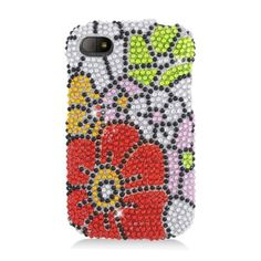 Insten Red/ Flowers Hard Snap-on Rhinestone Bling Case Cover For BlackBerry Q10