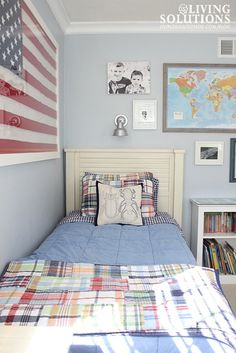 Boys' Room with Barn Light Electric Galvanized Light; Pottery  Barn Kids Madras quilt; Gallery wall