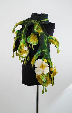 Felted Scarf Art Wrap Artistic Shawl Scarve Felt Nunofelt Nuno felt Silk Boho Fiber Art. $139.00, via Etsy.