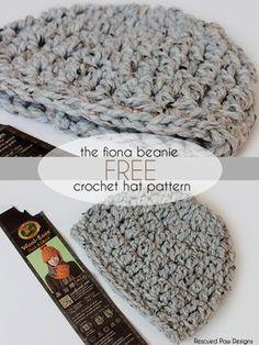 The Fiona Crochet Beanie Pattern :: Rescued Paw Designs – Free crochet pattern f… Crochet Adult Hat, Easy Crochet Hat, Easy Crochet Stitches, Crochet Beanie Pattern, Crochet Cap, Crochet Basics, Easy Crochet Patterns, Crochet Crafts, Free Crochet