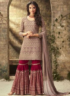 Buy Beige Embroidered Sharara Suit online, SKU Code: SLSCCH0652001. This Beige color Party sharara suit for Women comes with Embroidered Faux Georgette. Shop Now!