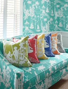 Chinoiserie Chic: Thibaut's South Sea.  Similar to toile but more contemporary