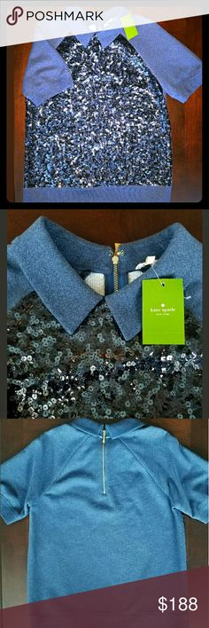 Kate Spade Navy Top Sz L Rare Kate Spade Navy Sequin Short Sleeved Top with Gold Zipper  NWT Size Large MSRP $298  Comes from smoke and pet free home! kate spade Tops Blouses
