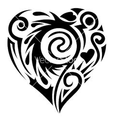 Our Tattoo: 10 Unique Designs of Tribal Heart Tattoos Tatoo Heart, Tribal Heart Tattoos, Bear Tattoos, Heart Tattoo Designs, Tribal Tattoo Designs, Tatoos, Feather Tattoos, Forearm Tattoos, Common Tattoos