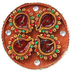 Pooja thali on pinterest diwali online shopping and rakhi for Aarti dish decoration