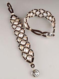 """Shanti"" Leather Pearl Cuff"