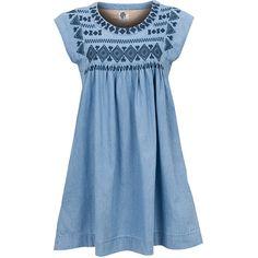 ICHI Dress Burki (135.660 COP) ❤ liked on Polyvore featuring dresses, vestidos, tops, pleated dress, blue pleated dress, ichi, embroidery dresses and blue dress