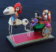 Day of the Dead On the Way to Cemetery Skull Dias de los Muertos Mexico Folk Art