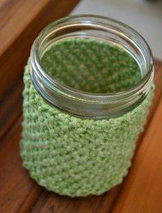 knit mason jar cosy - attempting a crochet version... But will try the knitted one.