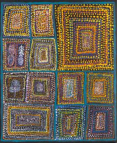 Loongkoonan (c.1910),  Bush Tucker 2005, acrylic on canvas,  Collection of Diane and Dan Mossenson, Perth, Western Australia © the Artist, courtesy of Mossenson Galleries