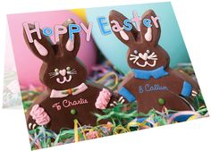 Personalise the front of the card with a name on the front of the pink iced bunny and a name on the blue iced bunny.