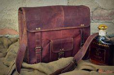 """Leather Messenger Bag 16"""" / Brown Leather Briefcase / Handbag / Satchel / Hip Bag / Shoulder Bag / Carry Bag / Laptop Bag"""