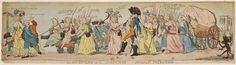 Isaac Cruikshank-  Au retour de Louis XVI et de la famille royale à Paris, le 6 octobre 1789