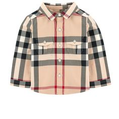 Cotton twill Pleasant to the touch Back pleat Rounded hem Shirt collar Long sleeves Flap pockets Button strap on the chest Buttons on the cuffs Buttoned flaps Logo buttons New classic check print Randomly placed patterns - 105,00 €
