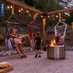 Toja Grid pergolas offer endless and unique applications, providing families the ability to find new and fun uses everyday. Hang around the family instead of around the tv this weekend. Building A Pergola, Outdoor Pergola, Backyard Pergola, Fire Pit Backyard, Pergola Plans, Backyard Landscaping, Pergola With Swings, Fire Pit Pergola, Deck Gazebo