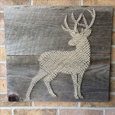 Rustic String Art - Buck Silhouette on weathered barnboard. This may be my new favourite wood to use!! This piece will be sold this weekend for a woodland themed nursery room. LOVE!