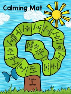 Deep Breathing Calming Mat: emotional regulation mat where the child can independently practice deep breathing, meditation while having fun completing each square of the tree. Counseling Activities, Art Therapy Activities, Learning Activities, Therapy Ideas, Emotions Activities, Career Counseling, Sorting Activities, Mindfulness For Kids, Mindfulness Activities