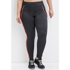 d930d75f39 Forever 21 Plus Women's Plus Size Contrast-Trim Heathered Athletic... ($23)  ❤ liked on Polyvore featuring activewear, activewear pants, plus size ...